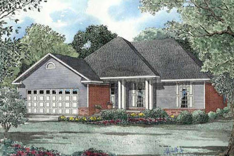 Traditional Style House Plan - 3 Beds 2 Baths 1525 Sq/Ft Plan #17-116 Exterior - Front Elevation