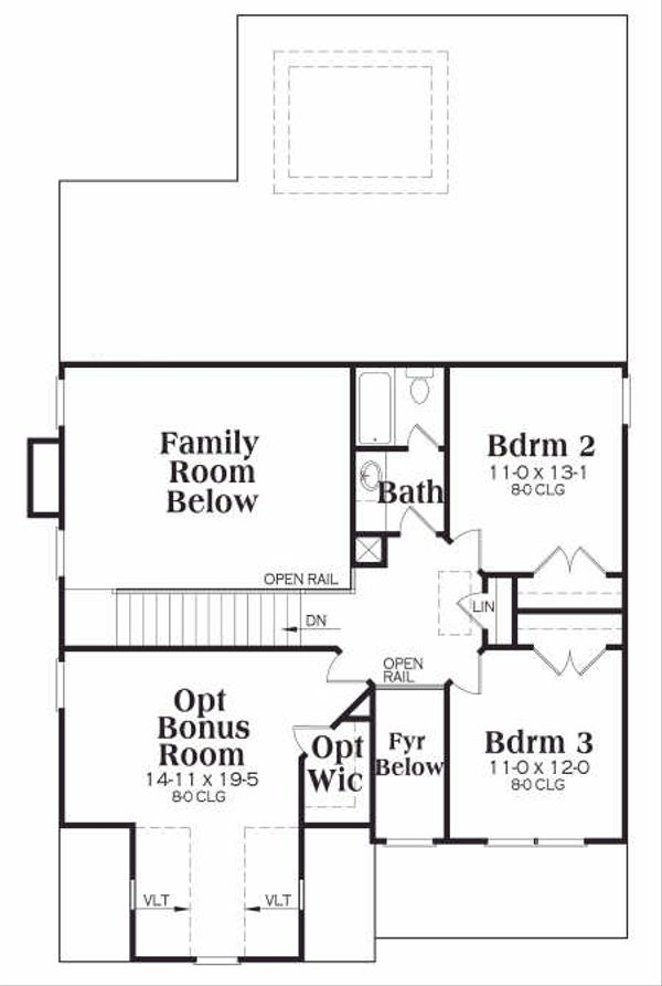 Tudor Floor Plan - Upper Floor Plan #419-139