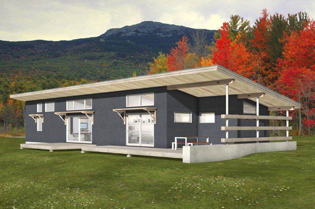 Modern floor plan Front elevation Modern Style