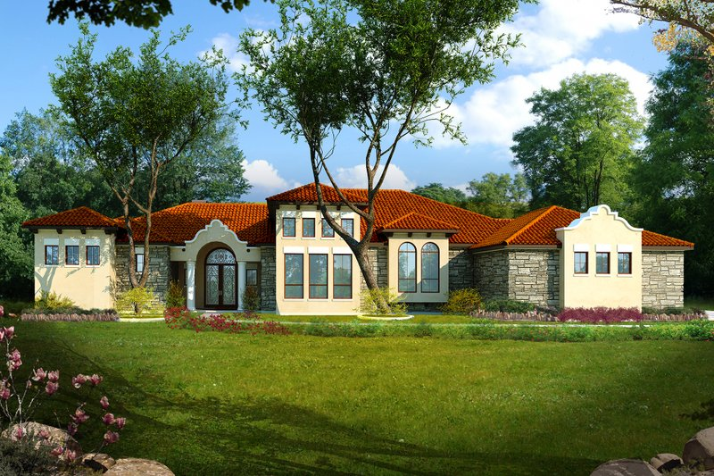 Mediterranean Style House Plan - 5 Beds 5 Baths 4528 Sq/Ft Plan #80-213 Exterior - Front Elevation