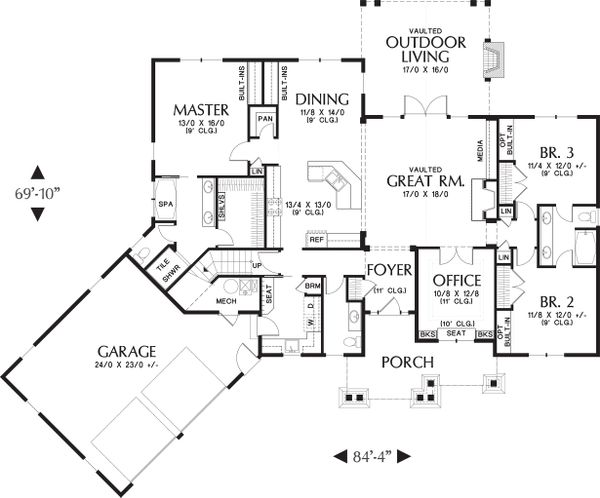 Main level Floor plan - 2200 square foot Craftsman home