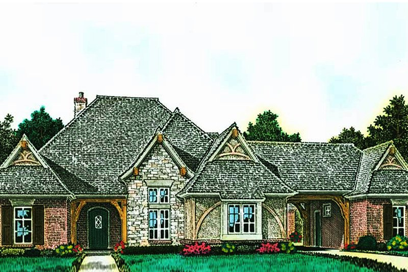 European Style House Plan - 4 Beds 3.5 Baths 3116 Sq/Ft Plan #310-1290 Exterior - Front Elevation