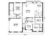 Traditional Style House Plan - 3 Beds 2 Baths 1974 Sq/Ft Plan #84-604 Floor Plan - Main Floor Plan