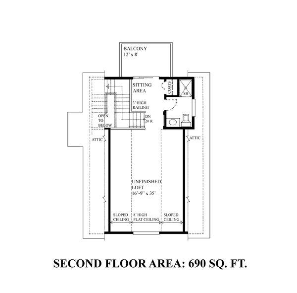 Bungalow Floor Plan - Upper Floor Plan Plan #118-132