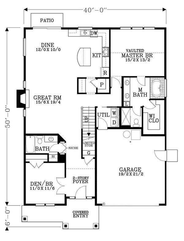 Craftsman Floor Plan - Main Floor Plan Plan #53-487