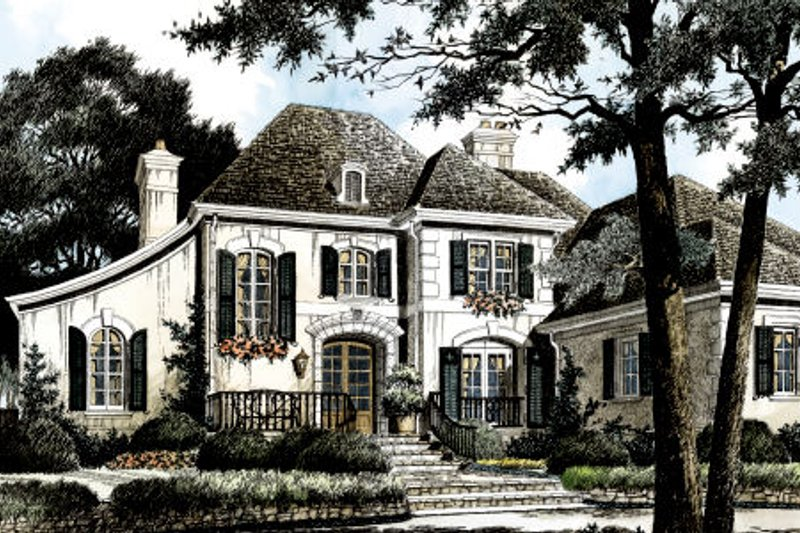 European Exterior - Front Elevation Plan #429-40 - Houseplans.com