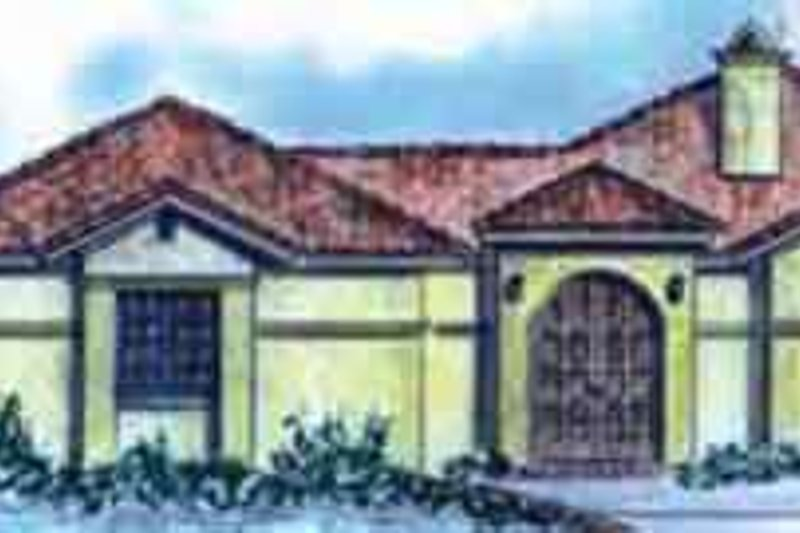Adobe / Southwestern Exterior - Front Elevation Plan #410-379