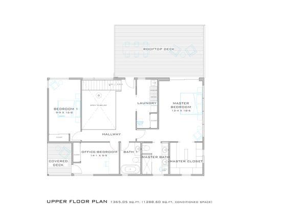 Modern Floor Plan - Upper Floor Plan #909-8
