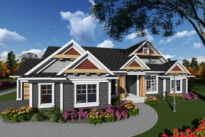 Ranch Exterior - Front Elevation Plan #70-1275