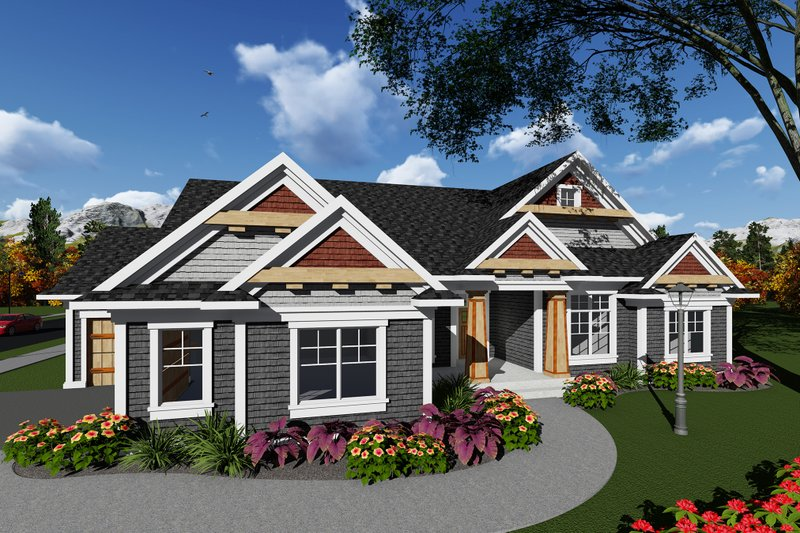 Ranch Style House Plan - 4 Beds 2 Baths 2357 Sq/Ft Plan #70-1275 Exterior - Front Elevation