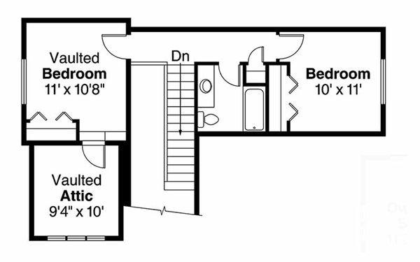 Craftsman Floor Plan - Upper Floor Plan Plan #124-907
