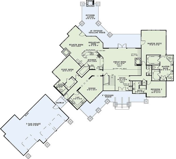House Plan Design - Craftsman Floor Plan - Main Floor Plan #17-2444