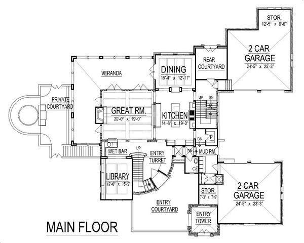 European Floor Plan - Main Floor Plan Plan #458-8