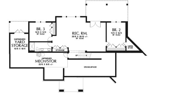Craftsman Floor Plan - Lower Floor Plan Plan #48-942