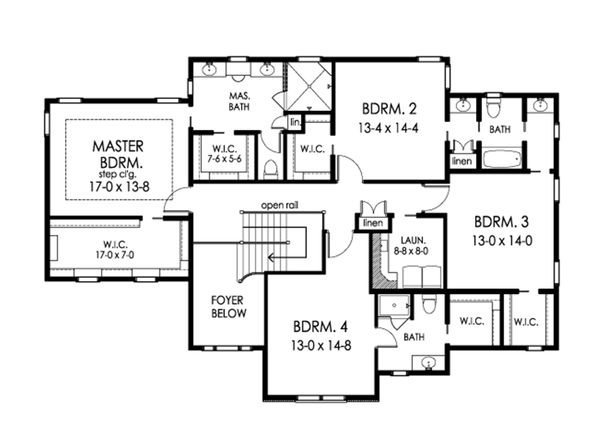 Colonial Floor Plan - Upper Floor Plan Plan #1010-217