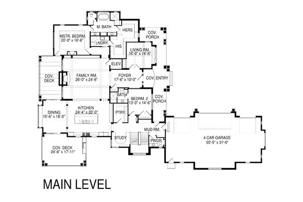 Craftsman Floor Plan - Main Floor Plan Plan #920-42