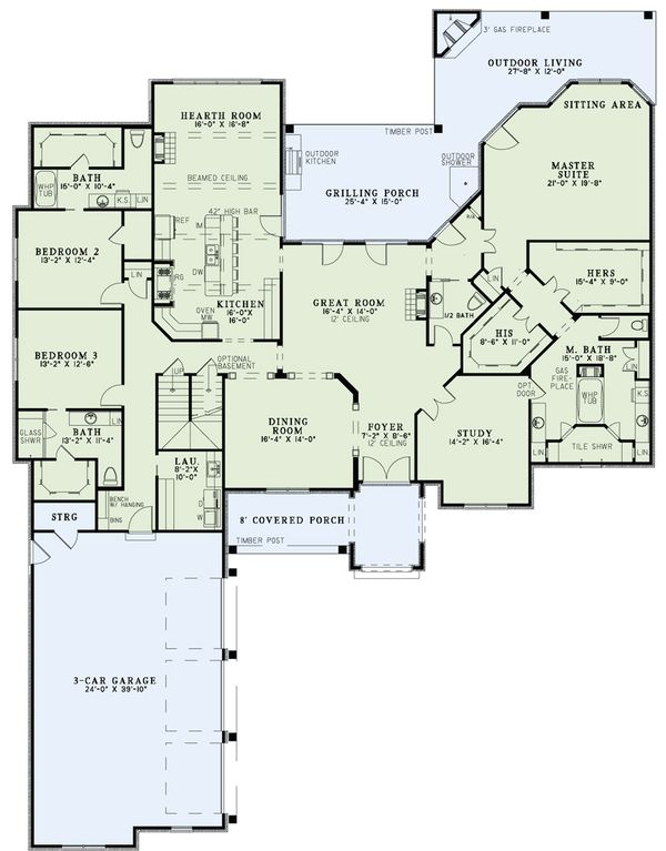 European Floor Plan - Main Floor Plan Plan #17-2476