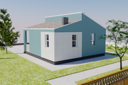 Contemporary Style House Plan - 2 Beds 1 Baths 713 Sq/Ft Plan #542-14 Exterior - Rear Elevation