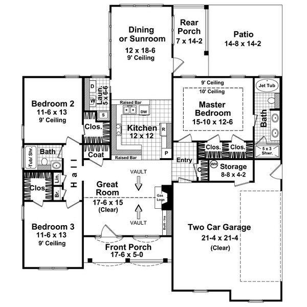 Southern Floor Plan - Main Floor Plan Plan #21-203