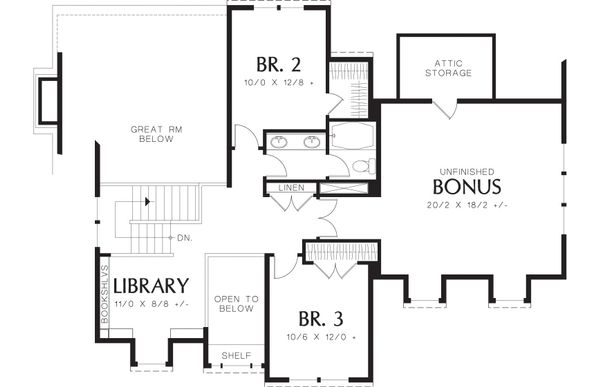 Craftsman Floor Plan - Upper Floor Plan Plan #48-262