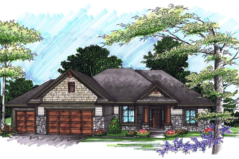 Ranch Exterior - Front Elevation Plan #70-1032