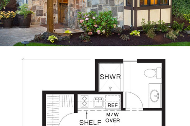 tiny house plan and elevation storybook style
