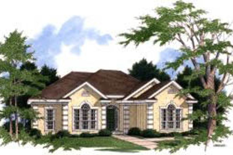 European Style House Plan - 3 Beds 2 Baths 1704 Sq/Ft Plan #37-145 Exterior - Front Elevation