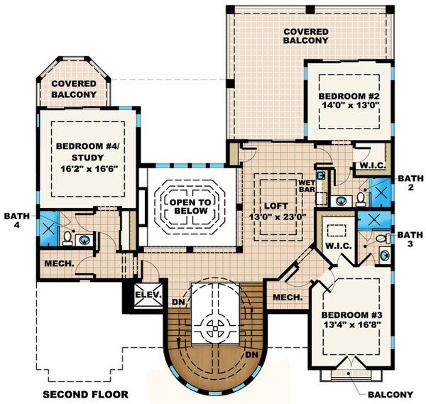 Mediterranean Floor Plan - Upper Floor Plan Plan #27-433