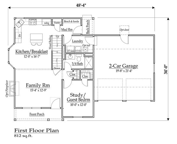 Farmhouse Floor Plan - Main Floor Plan Plan #459-5