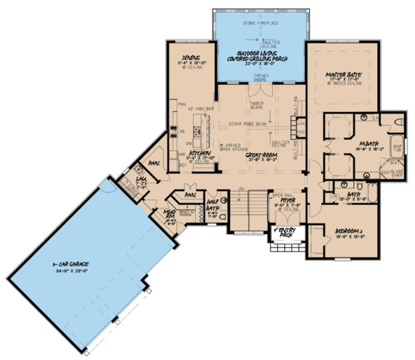 House Plan Design - European Floor Plan - Main Floor Plan #923-85