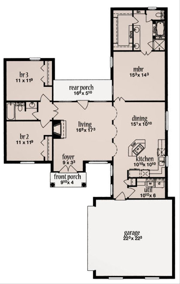 European Floor Plan - Main Floor Plan Plan #36-479