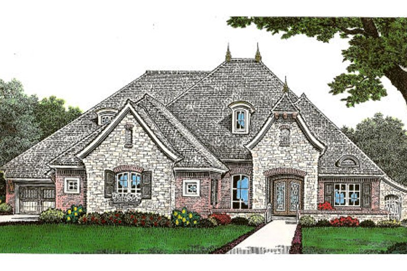 European Style House Plan - 3 Beds 4 Baths 2870 Sq/Ft Plan #310-641 Exterior - Front Elevation