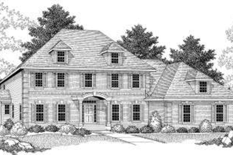 Colonial Style House Plan - 5 Beds 3.5 Baths 3938 Sq/Ft Plan #70-601 Exterior - Front Elevation