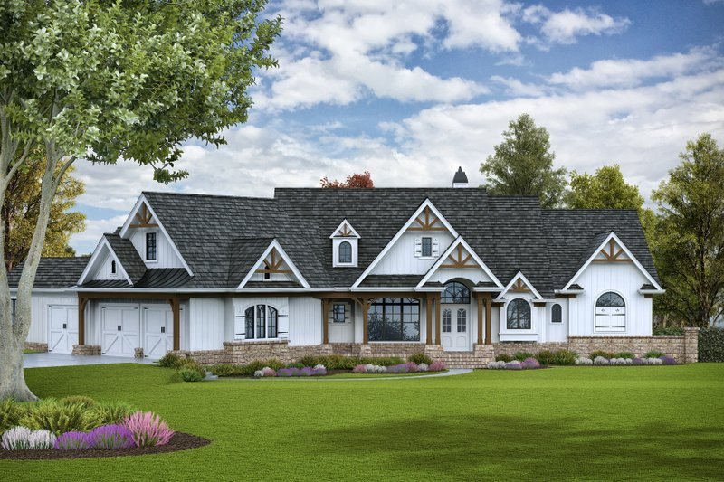 Architectural House Design - Craftsman Exterior - Front Elevation Plan #54-386