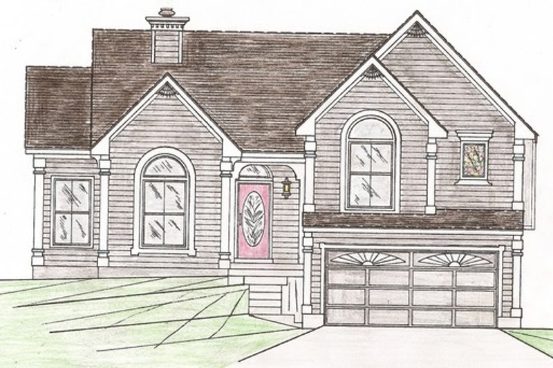 Country Style House Plan - 4 Beds 3 Baths 1681 Sq/Ft Plan #405-140 Exterior - Front Elevation
