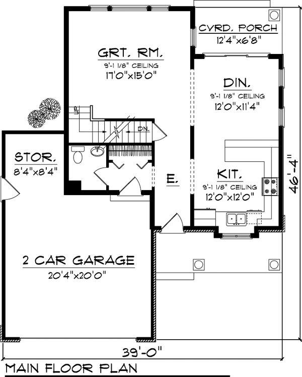 Craftsman Floor Plan - Main Floor Plan #70-1043