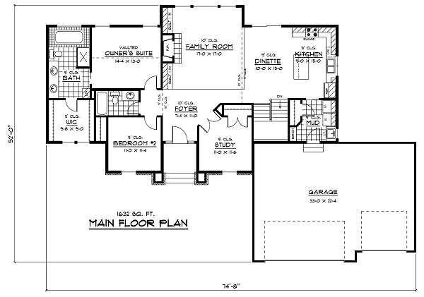 European Floor Plan - Main Floor Plan Plan #51-240