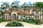 Mediterranean Style House Plan - 5 Beds 4.5 Baths 5408 Sq/Ft Plan #27-389 Exterior - Front Elevation