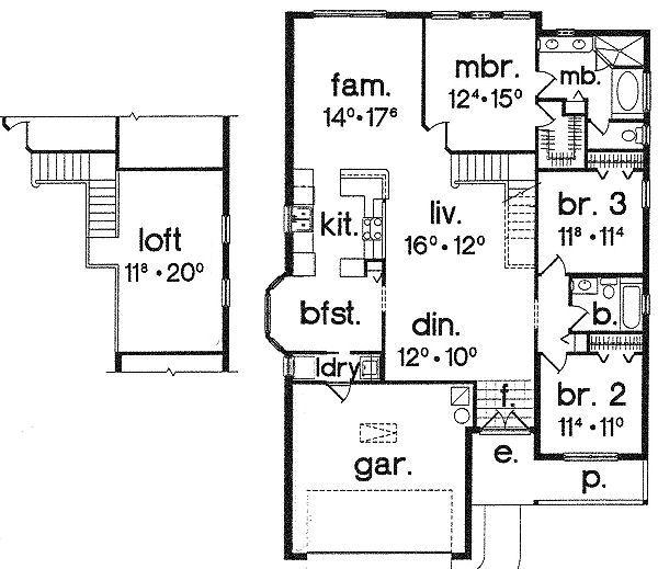Traditional Floor Plan - Main Floor Plan Plan #417-152