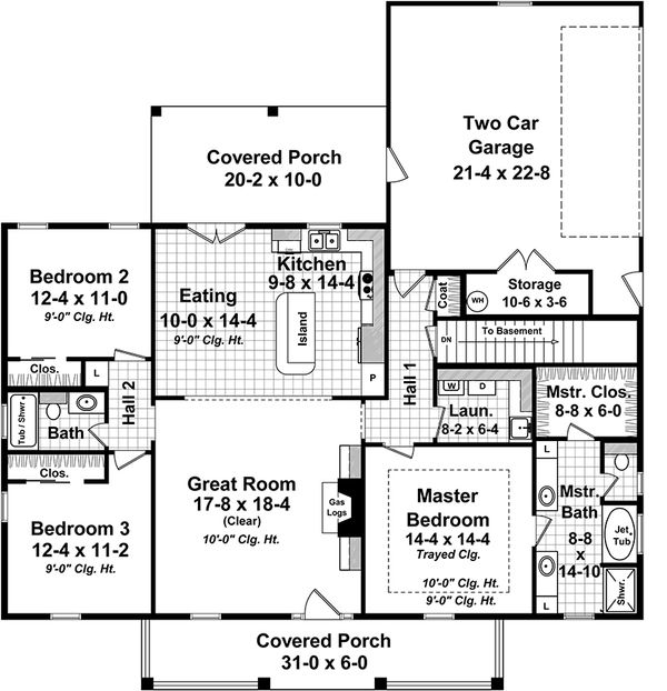 Country Floor Plan - Main Floor Plan Plan #21-365