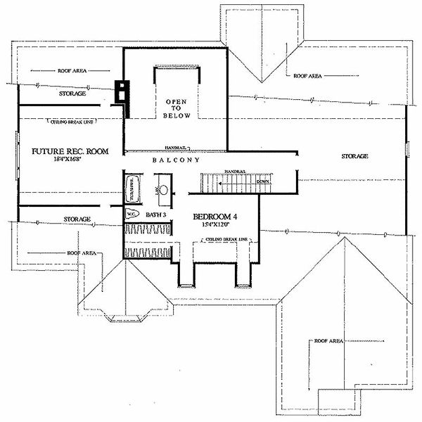 Southern Floor Plan - Upper Floor Plan Plan #137-205