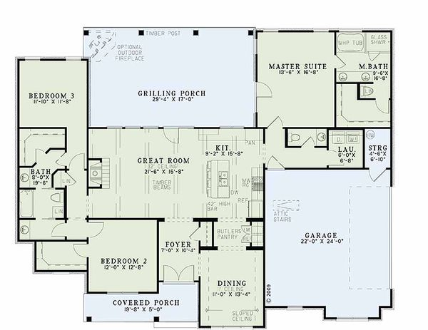 Country style house plan, floor plan