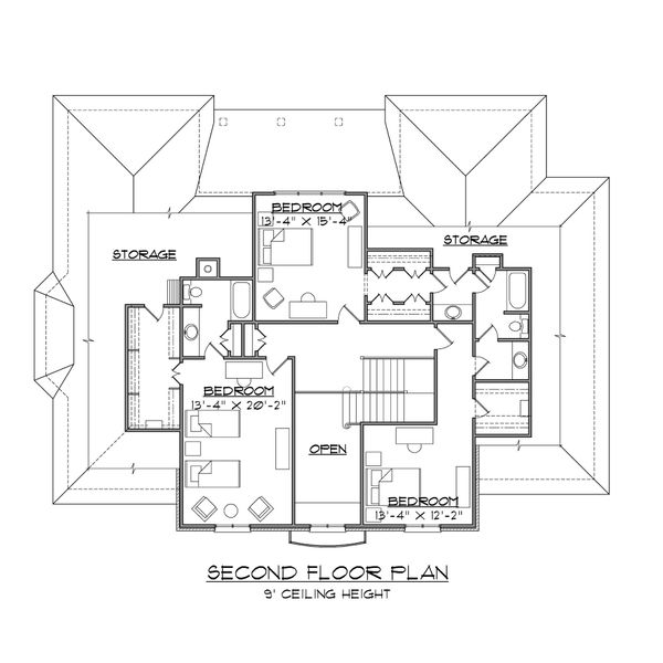 European Floor Plan - Upper Floor Plan #1054-82