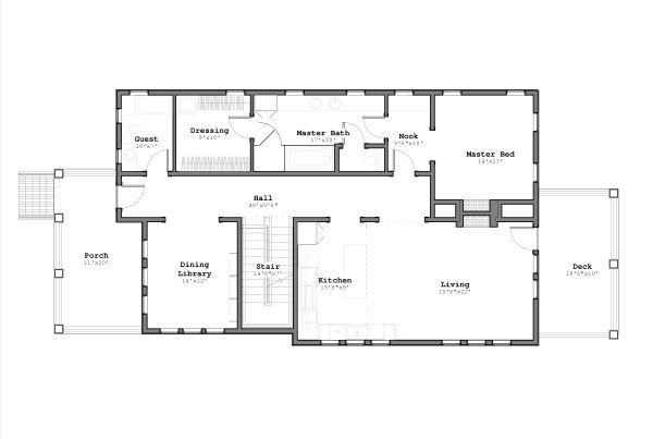 Craftsman Style House Plan - 3 Beds 2.5 Baths 2797 Sq/Ft Plan #926-3 Floor Plan - Main Floor Plan