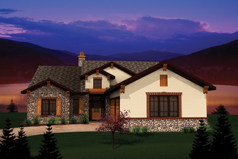 Ranch Style House Plan - 2 Beds 1.5 Baths 1993 Sq/Ft Plan #70-1096 Exterior - Front Elevation