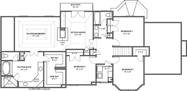 European Floor Plan - Upper Floor Plan #119-114