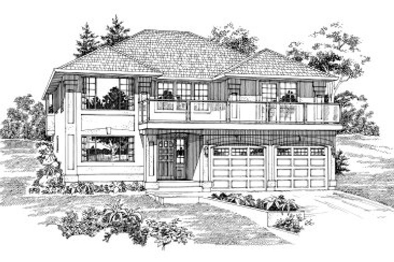 Bungalow Style House Plan - 3 Beds 2 Baths 1945 Sq/Ft Plan #47-594 Exterior - Front Elevation