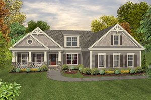 Craftsman, Country, Front Elevation