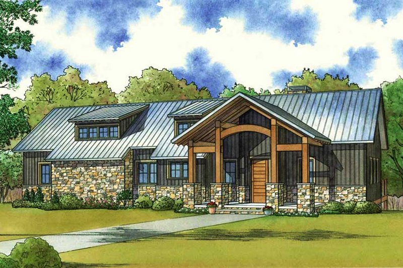 Farmhouse Style House Plan - 3 Beds 2.5 Baths 1981 Sq/Ft Plan #923-63 Exterior - Front Elevation
