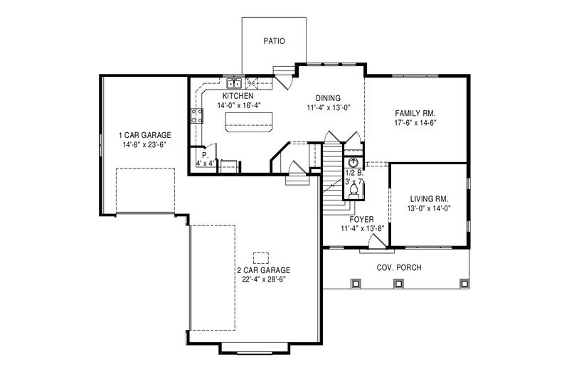 Traditional Floor Plan - Main Floor Plan Plan #920-100